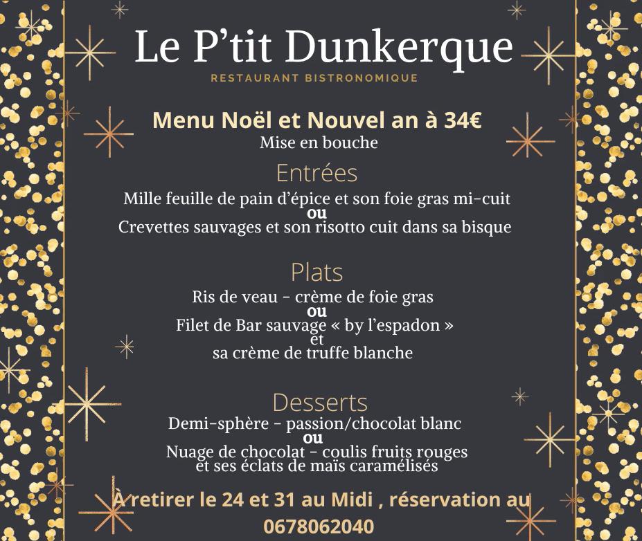 Le Ptit Dunkerque - menu de noel et nouvel an